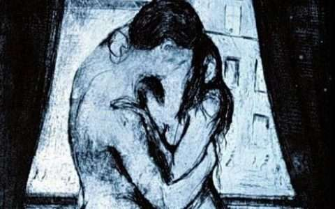 Artist: Edvard Munch, Le baiser 1895