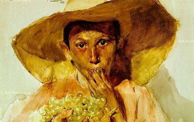 Artist: Joaquin Sorolla, Boy with grapes