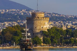 A look along the seafront of Thessaloniki.