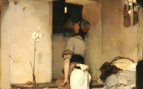 """Το """"φίλημα"""" του Νικηφόρου Λύτρα, η πιο τολμηρή ερωτική ζωγραφική σκηνή της εποχής"""