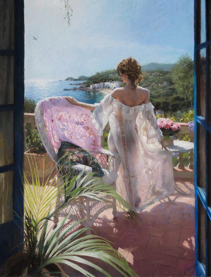 Ισπανός καλλιτέχνης μετατρέπει καθημερινές στιγμές γυναικών σε παστέλ πίνακες